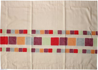 Наволочка мако-сатин Беж с красными квадратами (Биллербек)
